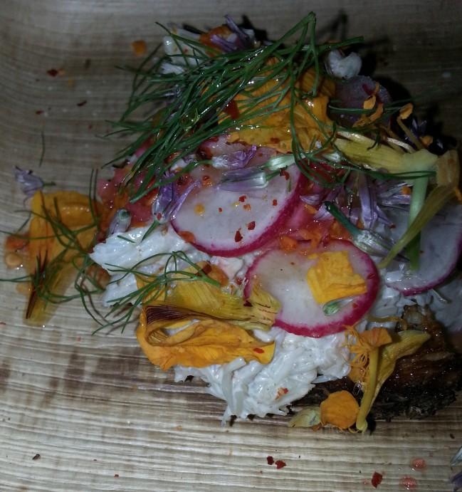 Speedy Romero: Peekytoe Crab Crostini, Cumin Mayonnaise, Radish and Nasturtium Vinegarette. Chef: Justin Bazdarich.
