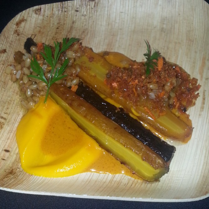 Nomad: Slow Roasted Carrots,Wheatberries and Crispy Duck Skin. Chef: Abram Bissell.