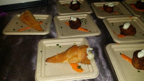 THALASSA Lavraki Tartare with Caviar Mousse & Zucchini Fritter with Tzatziki Sauce