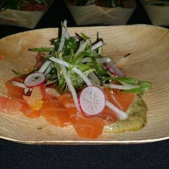 Miso Cured salmon with charred nori aioli, citrus ponzu, and crispy tapioca