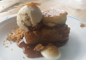 BOURBON BANANA BREAD PUDDING CREME BRULEE with VANILLA MERINGUE GUINNESS ICE CREAM
