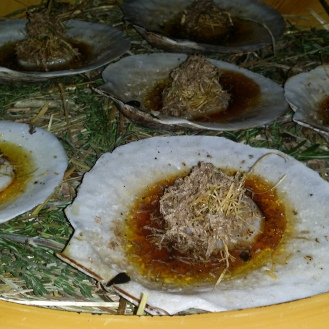 Diver Scallop Tataki with Black Truffle, Smoked Butter, and Crispy White Kombu