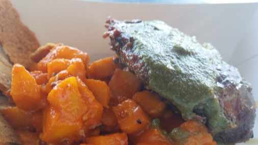 Smoked Pork Cheeks with Coriander Chutney and Apple Achar