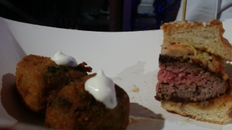 Dry Aged Big Mac: Dry Aged Rib Steak with Cheddar and Special Sauce Served with Creamed Spinach Bites