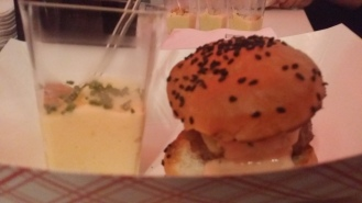 Little Burger: Wagu Beef with Special Sauce on a Sesame Seed Bun with Sweet Corn Pudding