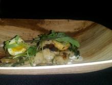 Quail Eggs, Focaccia, and trumpet mushroom