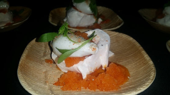 Carrot Pavlova, Cream Cheese Mousse , Carrot Granita Coconut Sorbet and Cilantro
