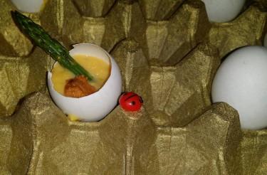 Benoit/ Warm egg custard, green asparagus, sea urchin