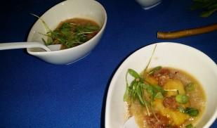 The Cecil/ Curry crusted cod, kimchi rice porridge gaunciale , fish sauce caramel