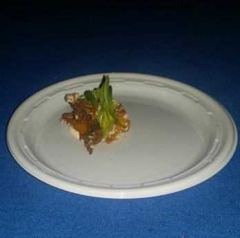 La Marina/Crispy Arepa Braised beef short rib, lime scented sour cream, creamy avocado, cilantro