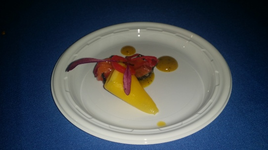 Lexington Brass/ Beet Cured Salmon Ceviche, Pickle Mango Puree, Black Sushi Rice Chip
