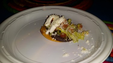 Maya/ Tlayuda Adobo shrimp, crispy tortilla, spicy bean puree,chopped lettuce,pico de gallo, cojija cheese and crema