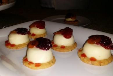 Union Square Cafe/ Lemon Mascarpone Cheesecake, Fennel seed sable Blood Oranges, Kumquat Confit