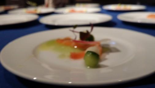 Wayfarer/Cured Salmon cucumber jalapeño apple vinaigrette.
