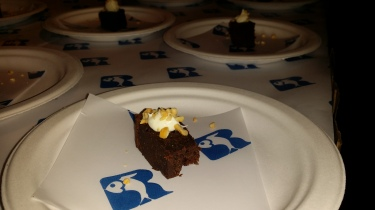 RUSS & DAUGHTERS flourless chocolate cake with creme and roasted cashews