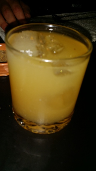 PDT one two punch: scotch whiskey pilsner lemon grapefruit juice spices