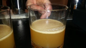 BKB tellsina sour: disarono gin carified butter milk and myer lemon