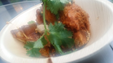 Rainbow Room Fried chicken onion butter smoked bacon waffles chipotle mustard maple syrup