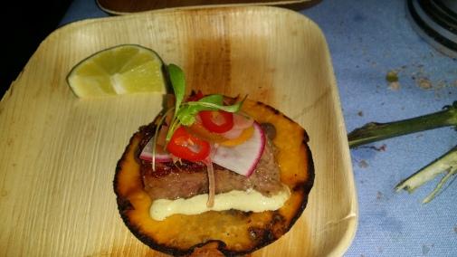 Mark Forgione Tongue Taco fermented chilies wild garlic