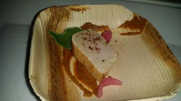SPQR White Tuna Crudo lettuce charred vegetable sauce