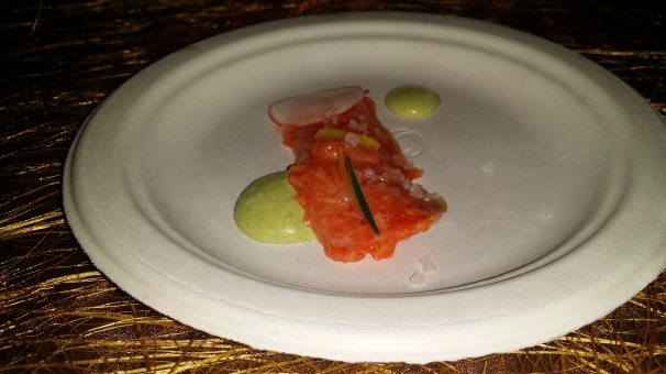 Alaskan Sockeye Salmon Crudo with Green Goddess