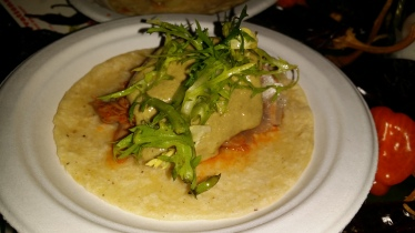Taco with Braised Duck Leg Pipian Mole Black Truffle