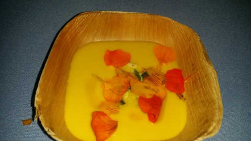 Coi Chilled spiced yellow squash soup lime nasturtium