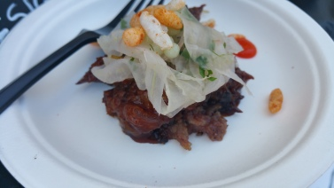 SHANNON SHAFFER korean bbq beef brisket with asian pear fennel slaw wasabi pearls and puff rice crackers