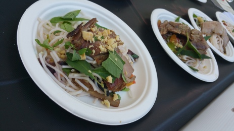 ROB NEWTON (WILMA JEAN) grilled pork shoulder with rice noodles virginia peanuts cucumbers and herbs