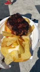 ALEX STUPAK La Hambrguesa Campeona Grilled Short Rib on a Potato Roll Red pepper Chorizo Relish Crispy Gaufrettes Smoked Mayo