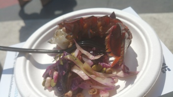 BEN CONNIFF Chili Butter Lobster Tails Grilled Cabbage and Corn Slaw