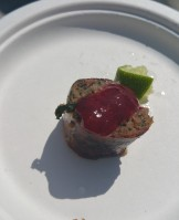 DANIEL EDDY Grilled Duck Sausage Plum Jam