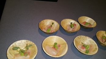 austrailian hiramasa with avocado meyer lemon and rhubarb