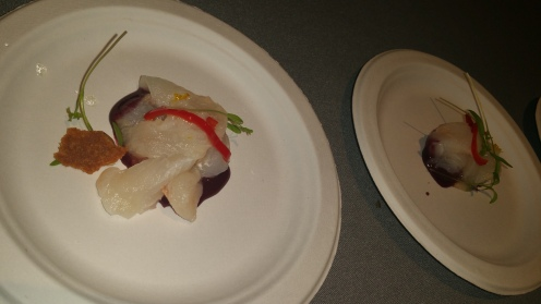 fluke crudo with concord grapes and pickled shishito peppers