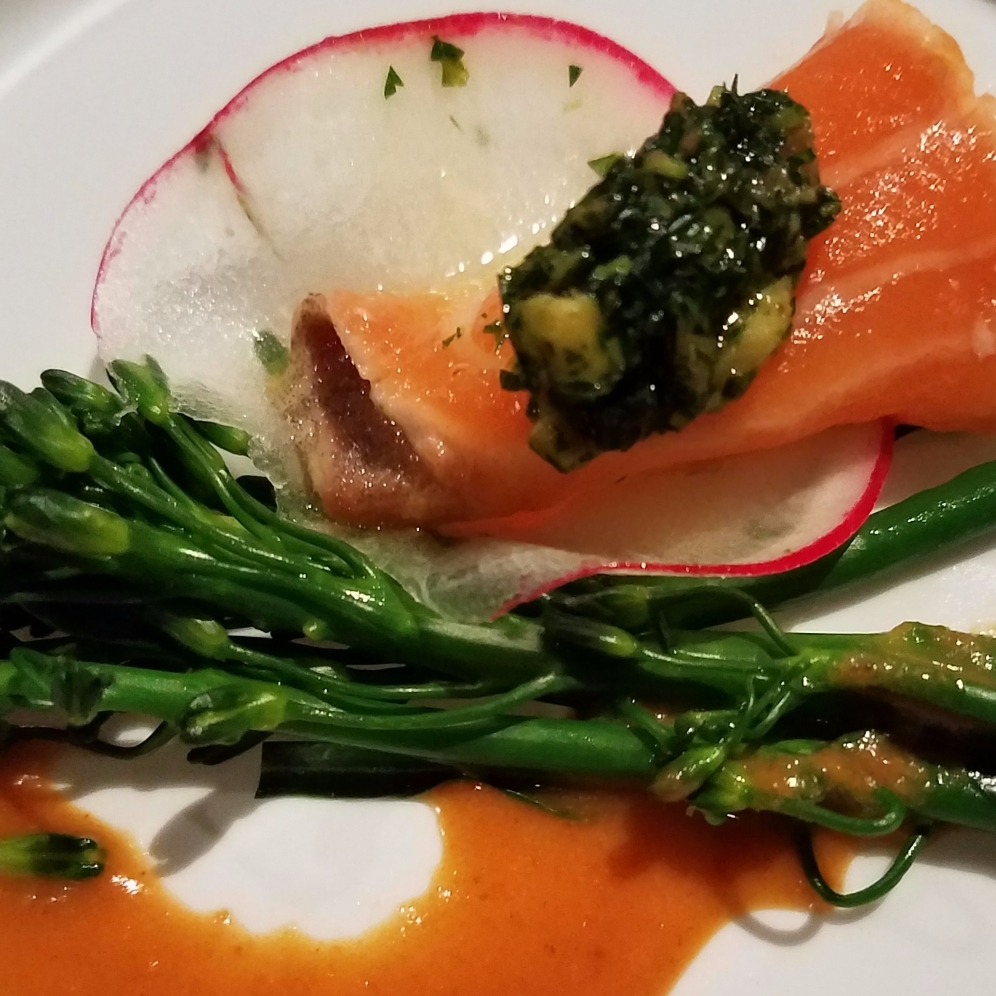 Salmon Tataki Goma Miso Ponzu