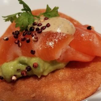 Salmon Tostada Avocado Puffed Quinoa Black Truffle AIoli