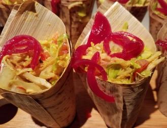 Shawarma Salad Cones Chicken Falafel Hot Sauce White Sauce