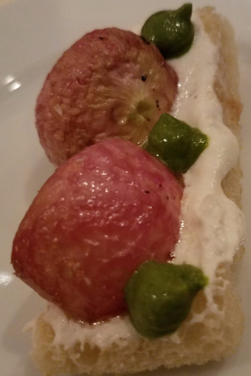 Roasted Radish with Salsa Verde and parmigiano reggiano crouton