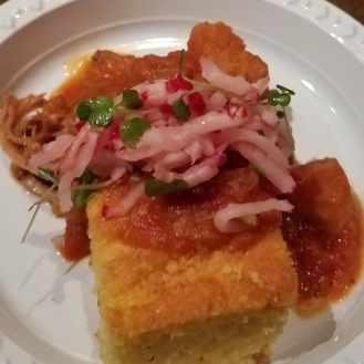 Braised Chili Pork and Plantains Cornbread Shaved Radish Salad
