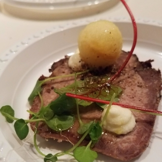 Pastrami Beef Tongue with Pickle Apple and Horseradish